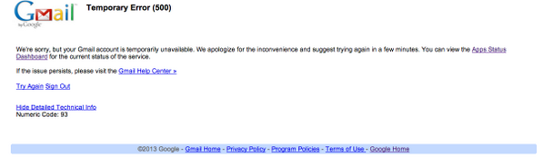 Holy crap! Gmail is down? #gmail #down http://t.co/8d9o8Biqsn