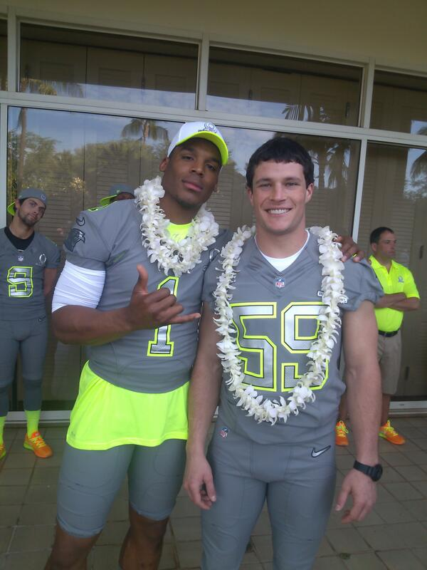 Photo of Luke Kuechly & his friend American Football player  Cam Newton -