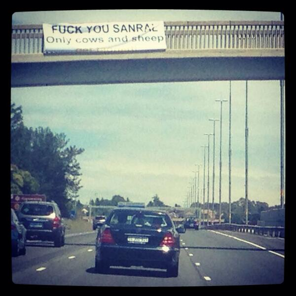 "Yeah baby! ""@RazzleMonster: Protest day in Joziburg...only cows & sheep get tagged! #scamral #etolls #joburg #loveit http://t.co/182djs98YQ"""