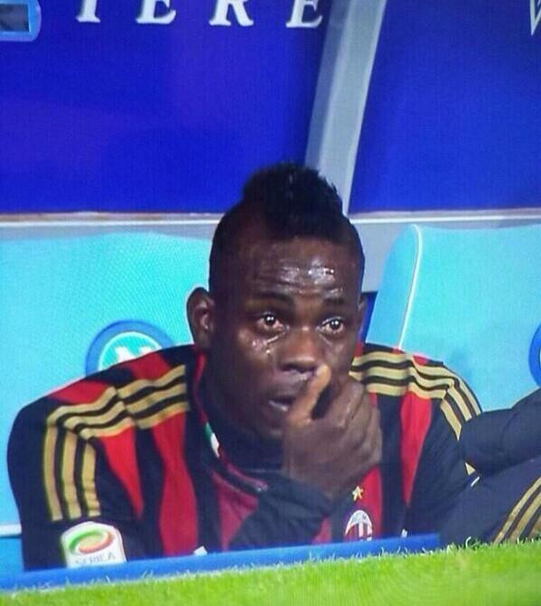 Disgraceful scenes as Mario Ballotelli is reduced to tears after being racially abused during the Napoli game http://t.co/7ZhShmK6gn