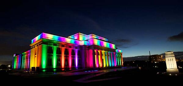 Get your cameras ready, @Auckland_Museum is wearing its colours from tonight as @AkldPrideFest kicks off for 2014! http://t.co/0vi2fsicWK