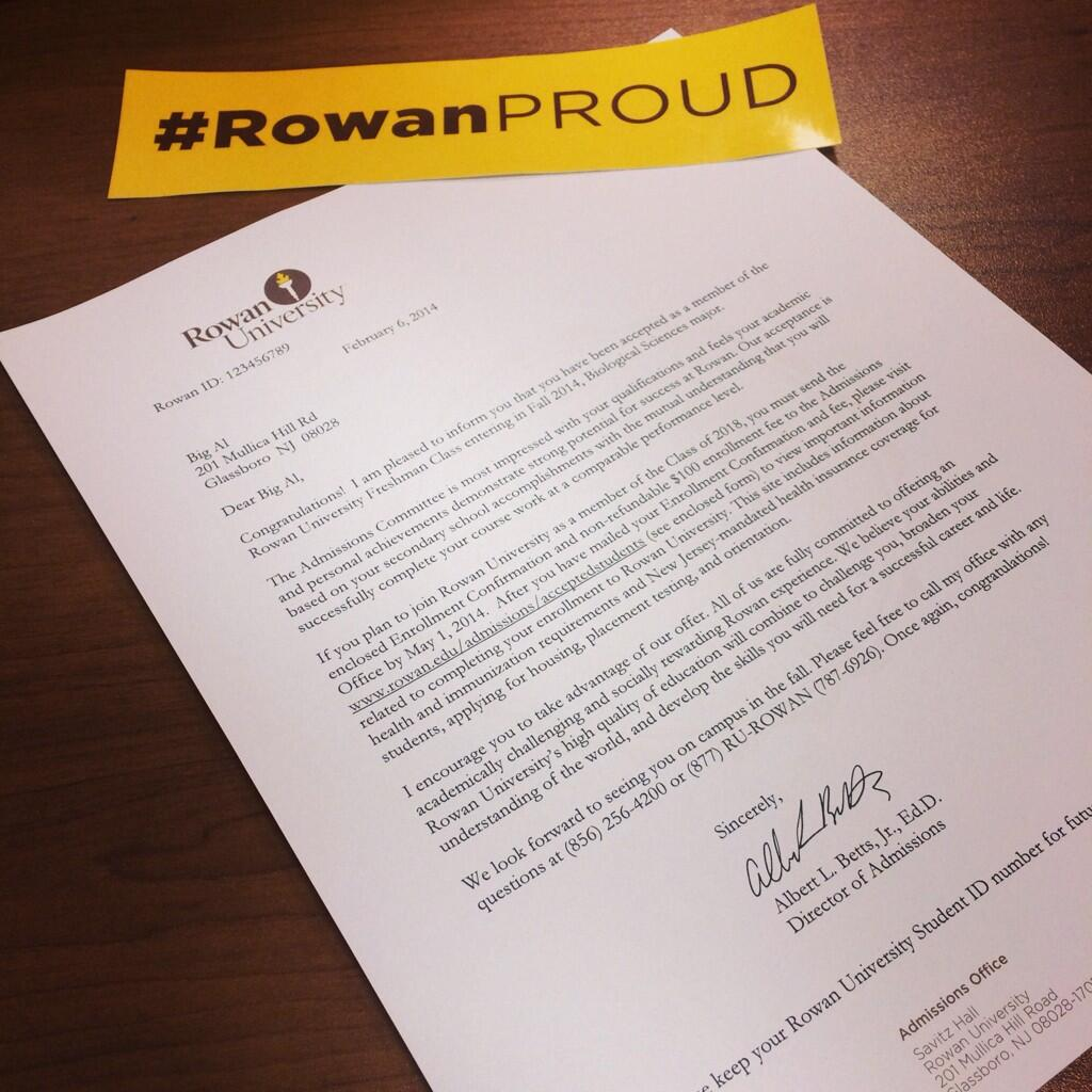 Rowan University on Twitter quotMore acceptance letters