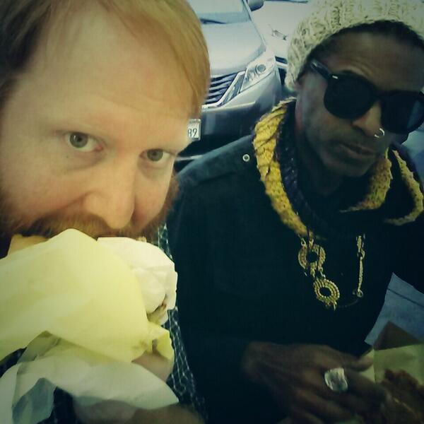 Having a great time! Lenny says the burger is Spicy! http://t.co/WALE5DVQMG