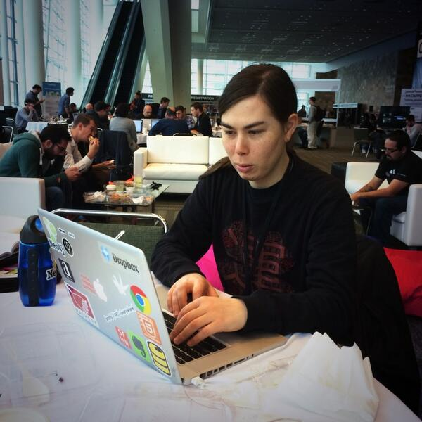Past #TVoTHack champion @otherflipside putting the finishing touches on his hack for #TVhackfest http://t.co/ikg459k0em
