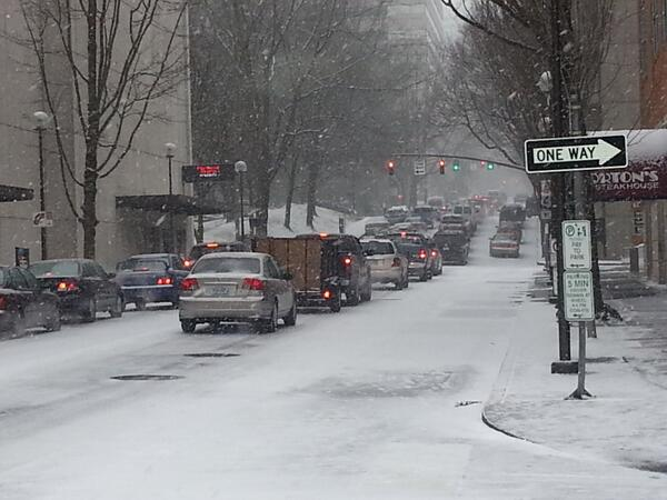 Bumper to bumper traffic in downtown Portland. #pdxtst http://t.co/bTAbH1ARJa