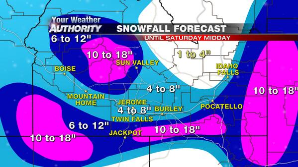 Snow amounts expected by Sat. Midday. Good news we won't get this all at once but over 36 hrs. #IDwx http://t.co/sLfM3m7uJv