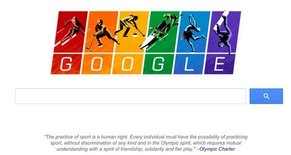 Google ma specialni doodle pro dnesni den. Olympijsky. Proti diskriminaci gayu v Rusku. Dik! #Sochi2014 http://t.co/NWlXBRwYEG