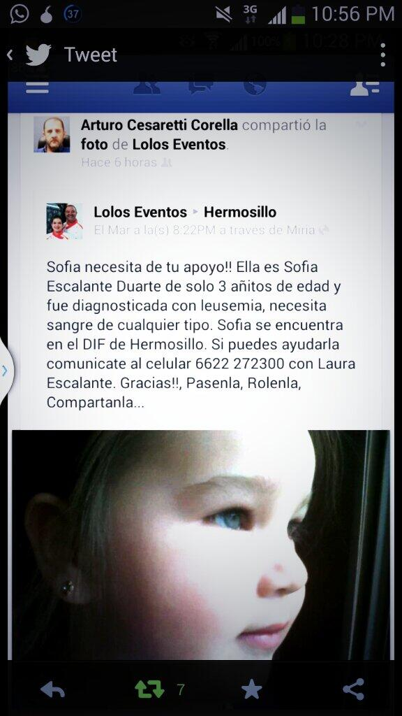 ¿Ayudamos a Sofía Escalante de 3 años? Urge sangre de cualquier tipo #Hermosillo RT. http://t.co/VgOlLFjzEG