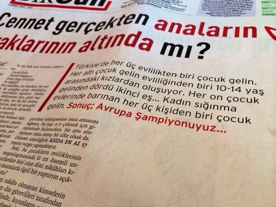 Pedofilide Avrupa Şampiyonuyuz. @BirGun_Gazetesi'nde @evrimkanpolat çocuk gelinlerle ilgili yazmış. http://t.co/ohMkahnJZY