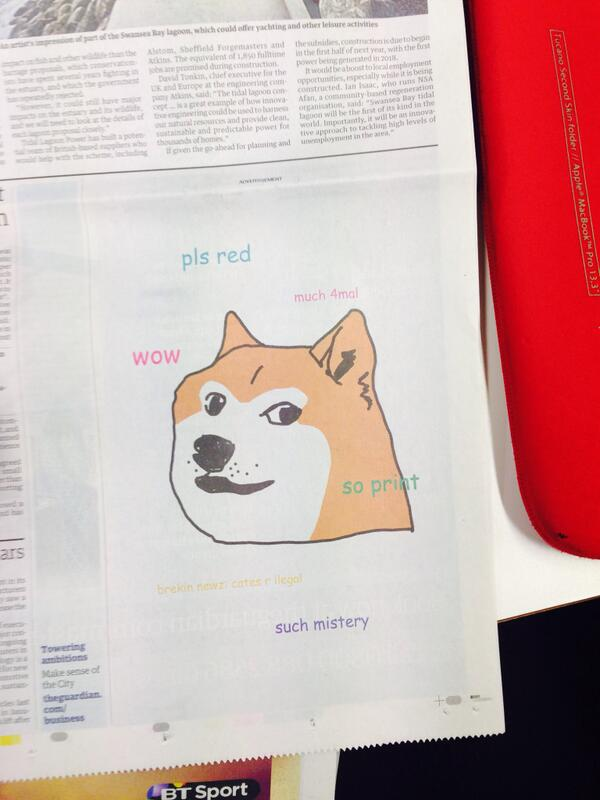 LOL so amazing. There's a doge ad in the Guardian this morning! http://t.co/gQUChcFzET