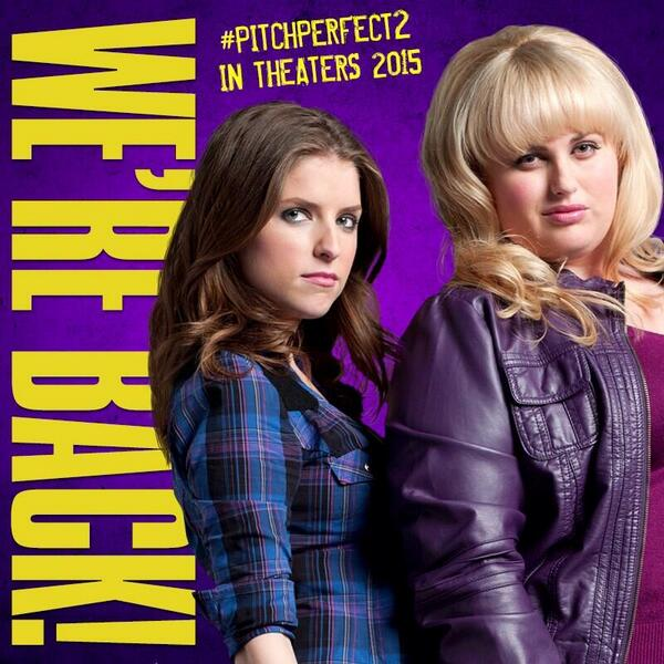Aca-mazing news... @AnnaKendrick47 & @RebelWilson are back for @PitchPerfect 2 http://t.co/V9XSWLxDME http://t.co/rJ4bsPA4g0