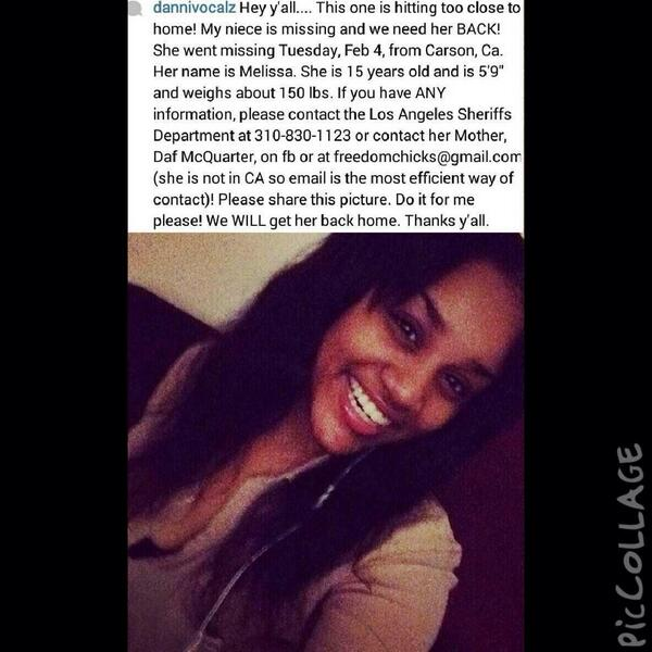 Thanks for the support y'all! Keep reposting and praying until Melissa is found!! #Missing #FindMelissa http://t.co/hK1ayn27dH