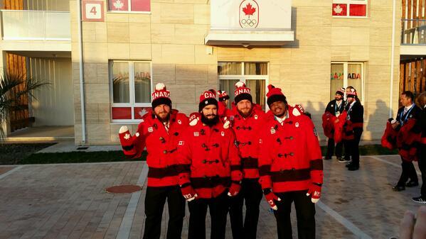 Team #beardmode getting ready for opening cereminies! #Sochi2014 @CDNOlympicTeam @TimRandall86 @McNaughtonJames http://t.co/nClAUkmifj