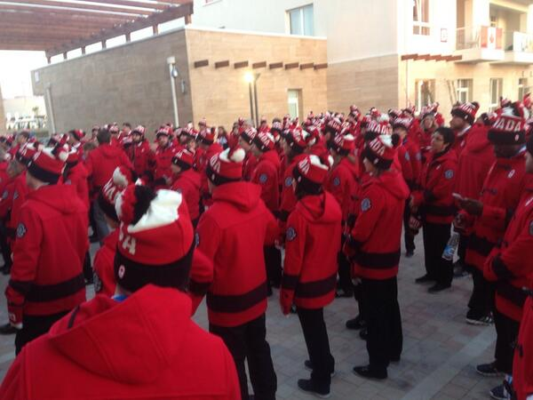 A sea of red. Ready to march. True North strong and free.  #OpeningCeremonies #teamcanada @CDNOlympicTeam http://t.co/bRaEOkKprb