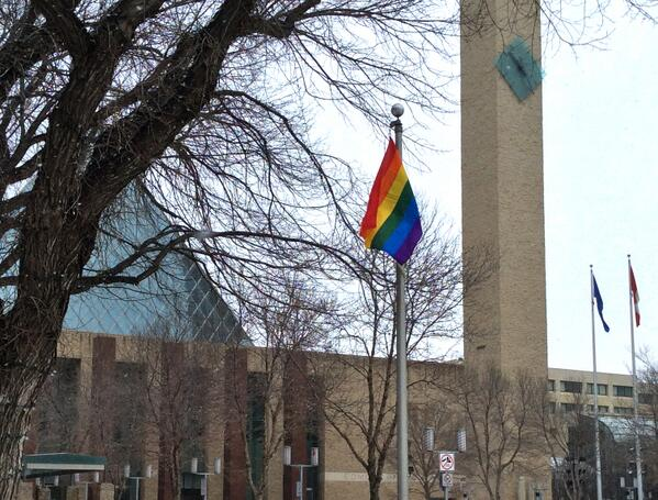News: Rainbow flag flies at City Hall for duration of Olympics http://t.co/bWfBDLYtqI #yeg http://t.co/ZvEHvb1dx6