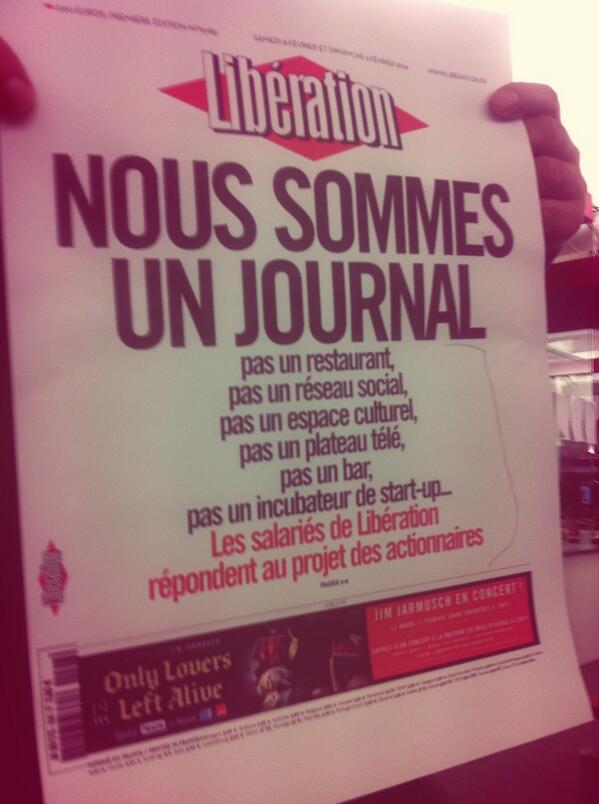"""Somos un periódico, no un bar... La cañera portada de Liberation de mañana #periodismo #voilà http://t.co/cuSmOe2e92"""""""