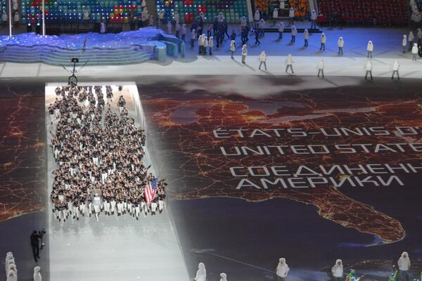 "Love this picture of Team USA. RT @NBCOlympics ""Here's a shot of #TeamUSA from above #OpeningCeremony http://t.co/mtQIG5sOi3"""