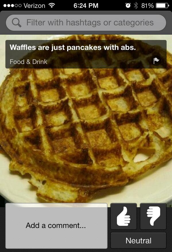 Thumb knows the difference between waffles and pancakes. http://t.co/O5d3FwDJD6