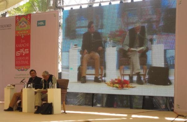 Raj Mohan Gandhi in discussion with @Razarumi  on his book #Punjab: A History from Aurangzeb to Mountbatten at #KhiLF http://t.co/YbfWSDcGc0