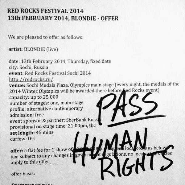 Blondie's response to an offer to play at the Sochi Winter Olympics. One more reason to like Debbie Harry. http://t.co/5tztq9JDkP