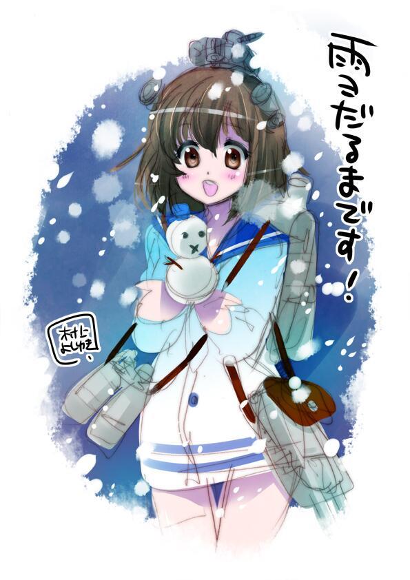 雪と風がすごいので、雪風を2分で描いてみました。    おやすみなさい・・・_(:3 」∠)_   http://t.co/g9hhXkmsb8