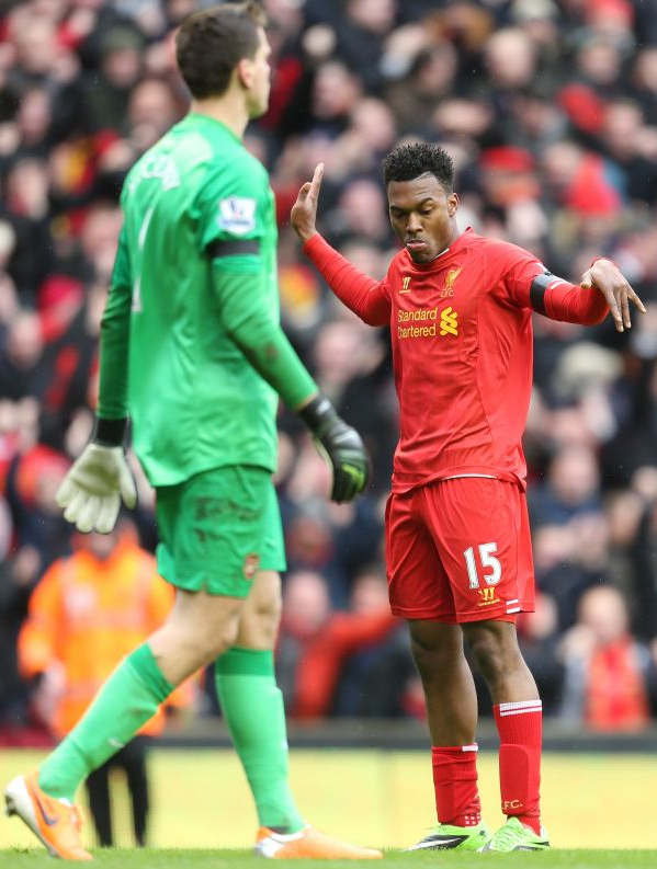 Daniel Sturridge doing his dance in front of a shellshocked Szczesny
