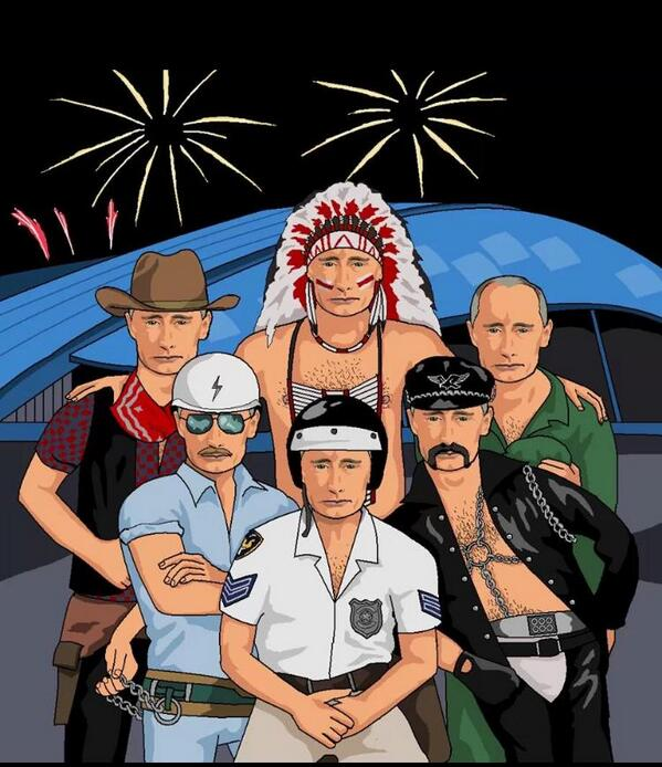 Putin as every member of the Village People. Magical. #Sochi2014 http://t.co/h8mf4RuWii