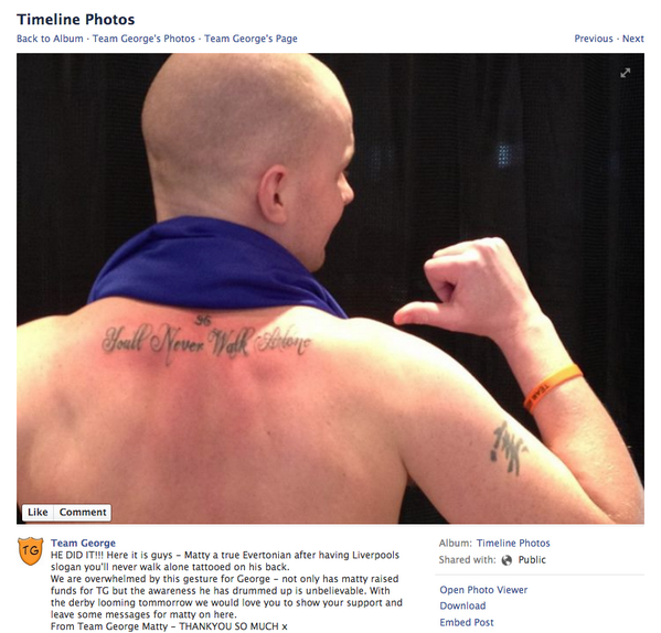 Diehard Everton fan gets a Youll Never Walk Alone tattoo on his back to support ill child [Picture]