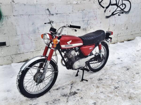 Hi all please keep an eye out for my motorcycle - stolen last night. Red 1970 Honda CB100, might be for sale online http://t.co/6rbkK44cDf