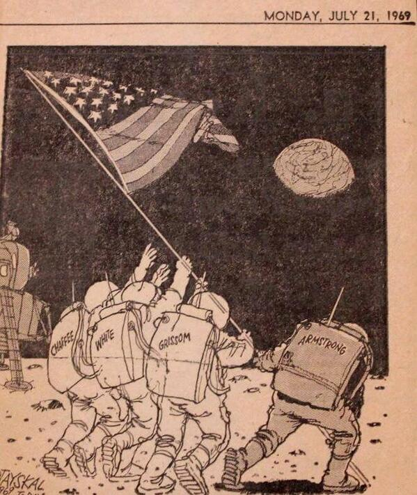 Remembering today 3 brave #NASA Astronauts that helped us get to the Moon. Godspeed Gus, Ed and Roger! #Apollo 1 http://t.co/H7B76nZWpw