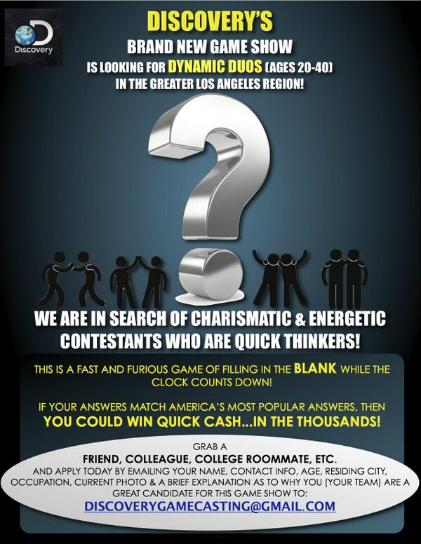NEW DISCOVERY GAME SHOW! CASTING TEAMS OF TWO IN LOS ANGELES AREA! WIN $$$ http://t.co/pmwZkdtIVx