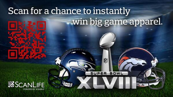 Scan for a chance to instantly win #SuperBowl gear: Please Retweet! #Giveaways http://t.co/NbQZ0EgJw0