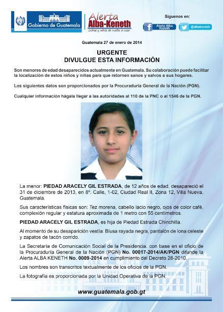 Alerta activada: Píedad Areacely Gil Estrada http://t.co/c02oFD1reV