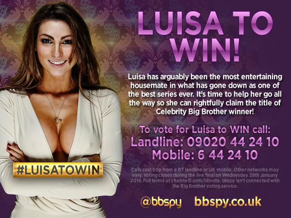 We're backing LUISA to win Celebrity Big Brother 2014! Here's all her details... #cbb #luisatowin #queenluisa http://t.co/MGBYfAqwMC