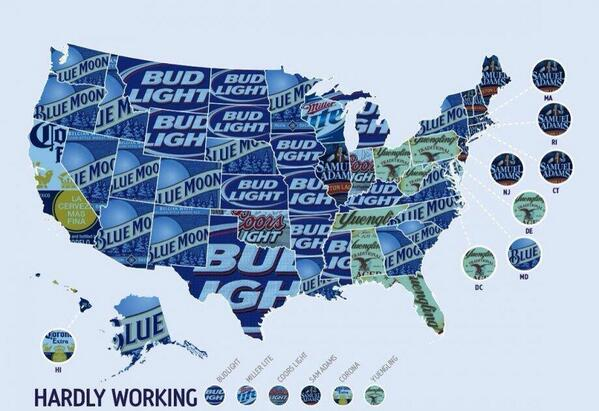Map: Beer of choice by state according to a poll taken by @blowfishangover. -> http://t.co/5hudk6mD3d Do you agree? http://t.co/oi1yY9CMBI