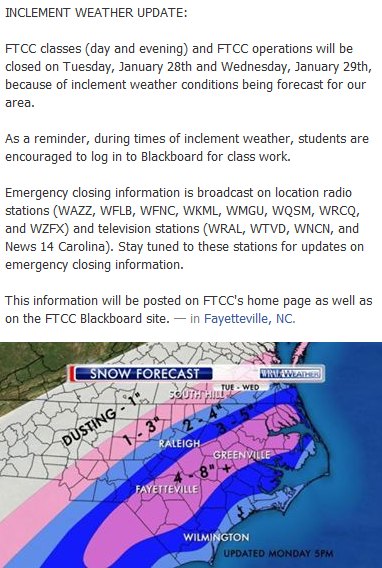 "ftcc blackboard Fayetteville Tech on Twitter: ""INCLEMENT WEATHER UPDATE: FTCC will ..."