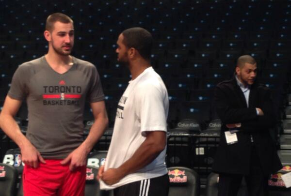 #RTZ Photo: @JValanciunas catches up with @ASqared06 pregame in Brooklyn... Anthony Parker cameos. #Raptors http://t.co/L3PjVDSPTO
