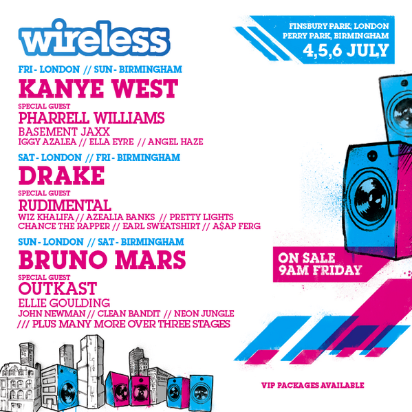 .@kanyewest. @Drake. @BrunoMars. @Outkast. @Pharrell. @RudimentalUk + loads more! #Wireless 2014 is coming! http://t.co/ODmk4FLEvE