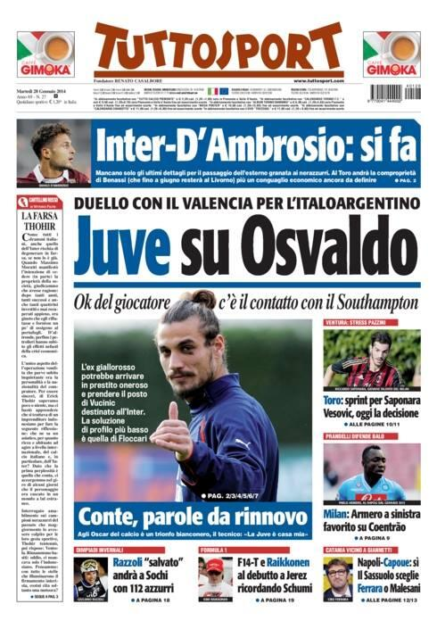 Juventus & Valencia are battling it out for Southampton bad boy striker Osvaldo [Superdeporte & Tuttosport]