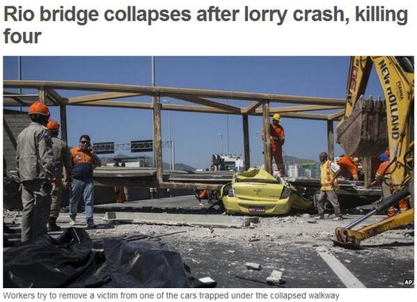 Brasile: camion autoribaltabile sfonda un ponte pedonale
