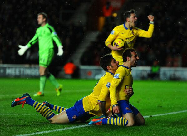 We're not entirely sure how Olivier Giroud achieved this position in congratulating Cazorla http://t.co/T567wK7cmC http://t.co/8v26z2iY3c