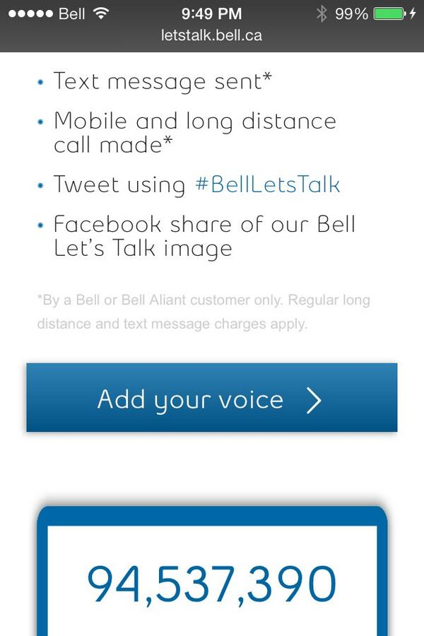 Almost to the 100,000,000 mark. Keep em coming. #BellLetsTalk http://t.co/pU4OdnlXOo