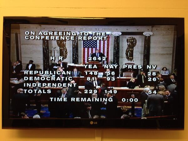 Farm Bill has passed!  Thanks to Chairman Lucas and others who've worked hard the last two years. #farmbill http://t.co/F8lDpLUBcs