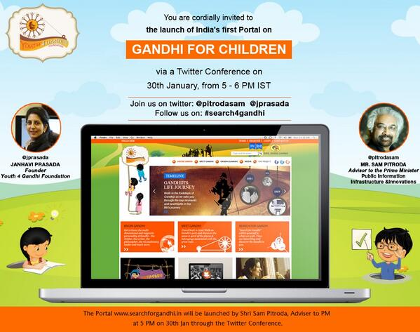 We are launching 'Search for Gandhi' tomorrow, the 1st Portal on Gandhi for children #search4gandhi Jan 30, 5 PM IST http://t.co/I9Agws7dIB