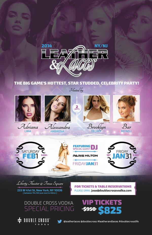 Excited for @leatherlaces w/ @AdrianaLima @AngelAlessandra @BrooklynDecker @BarRefaeli @ParisHilton #SuperBowl #NYC http://t.co/X9pm2oJh5C