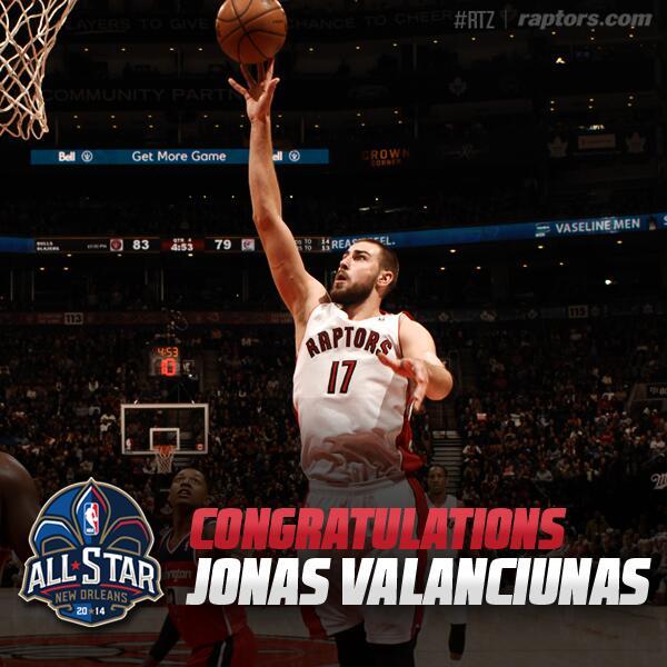 Congrats @JValanciunas on making the BBVA Compass Rising Stars Challenge at @NBAAllStar Weekend! #Raptors #RTZ http://t.co/Q3w4o56F1P