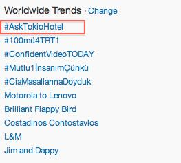 #AskTokioHotel is currently the #1 TT WORLDWIDE!!!!!!  @tokiohotel http://t.co/N93t0TUDI5