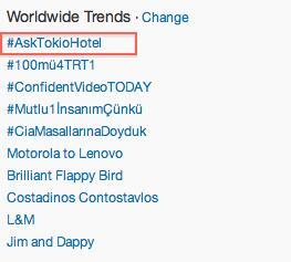 #AskTokioHotel is currently the #1 TT WORLDWIDE!!!!!!  @tokiohotel http://t.co/N93t0TUDI5