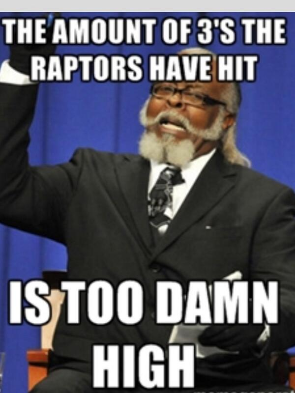 """The amount of 3's the @Raptors have hit is too damn high""! #RTZ http://t.co/q0TgzjgoZk"