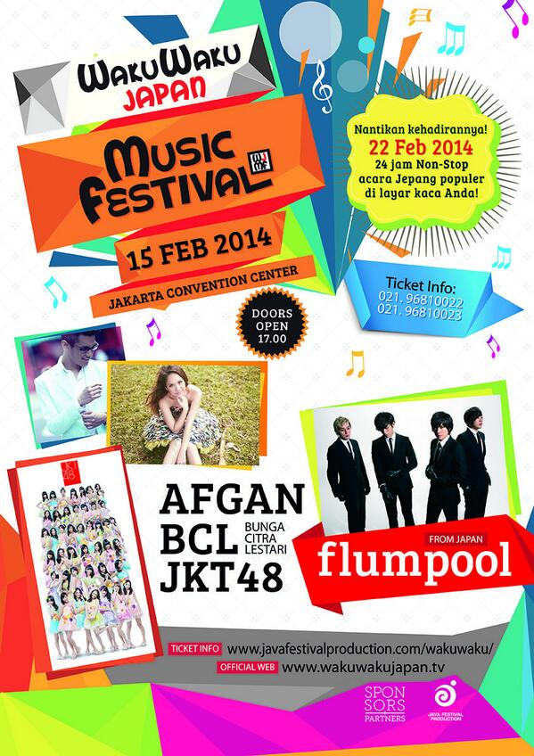 WAKUWAKU JAPAN MUSIC FESTIVAL JCC 15/2 w/ @flumpool_STAFF @officialJKT48 @bclsinclair @afgansyah_reza http://t.co/AIlq5c2OIJ by @JavaFestPro